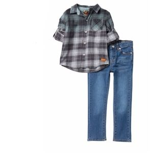 2T Boys 7 FOR ALL MANKIND Plaid Shirt/Jean Set NEW